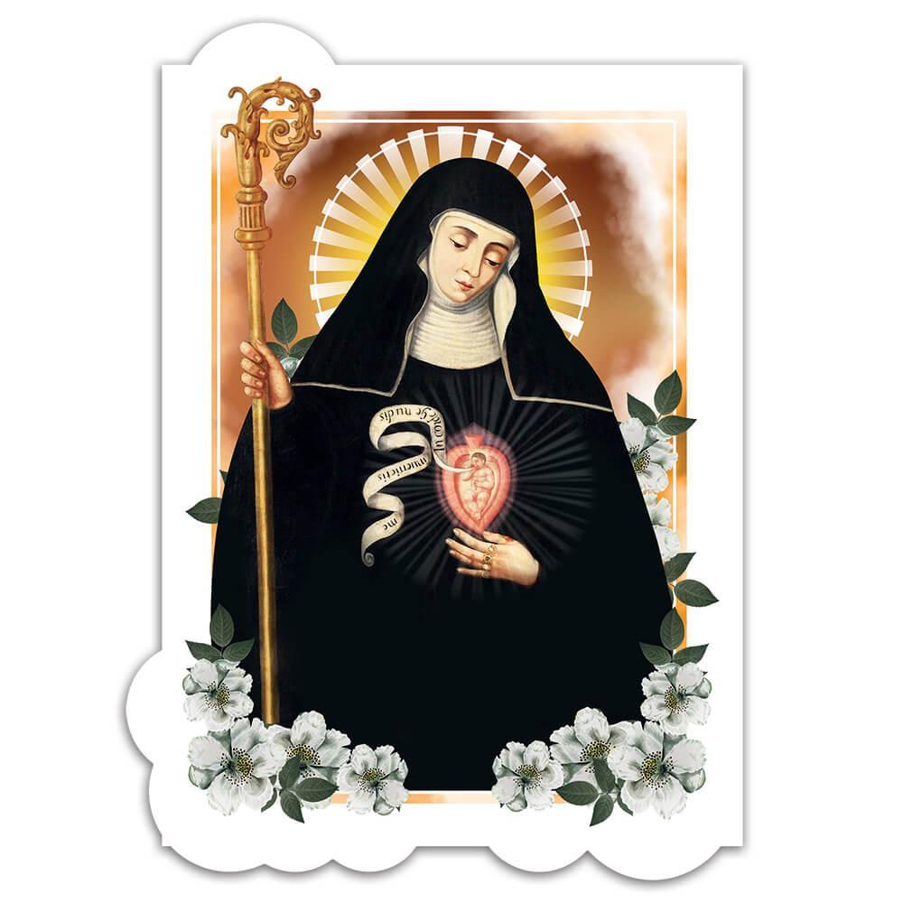 Gertrude The Great : Gift Sticker Catholic Saint Christian Religious Heart Nun Flowers