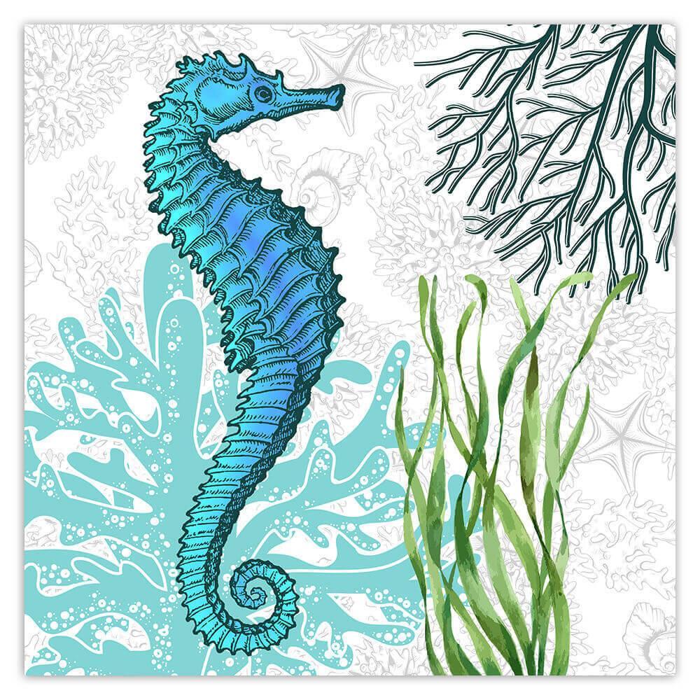 Seahorse Botanical Seaweed : Gift Sticker Ocean Animal Retro Vintage Art Nature Lover