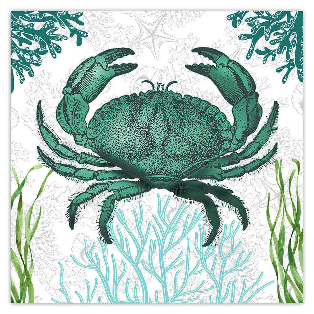 Rock Crab Vintage Art : Gift Sticker Water Animal Seaweed Botanical Retro Wall Poster