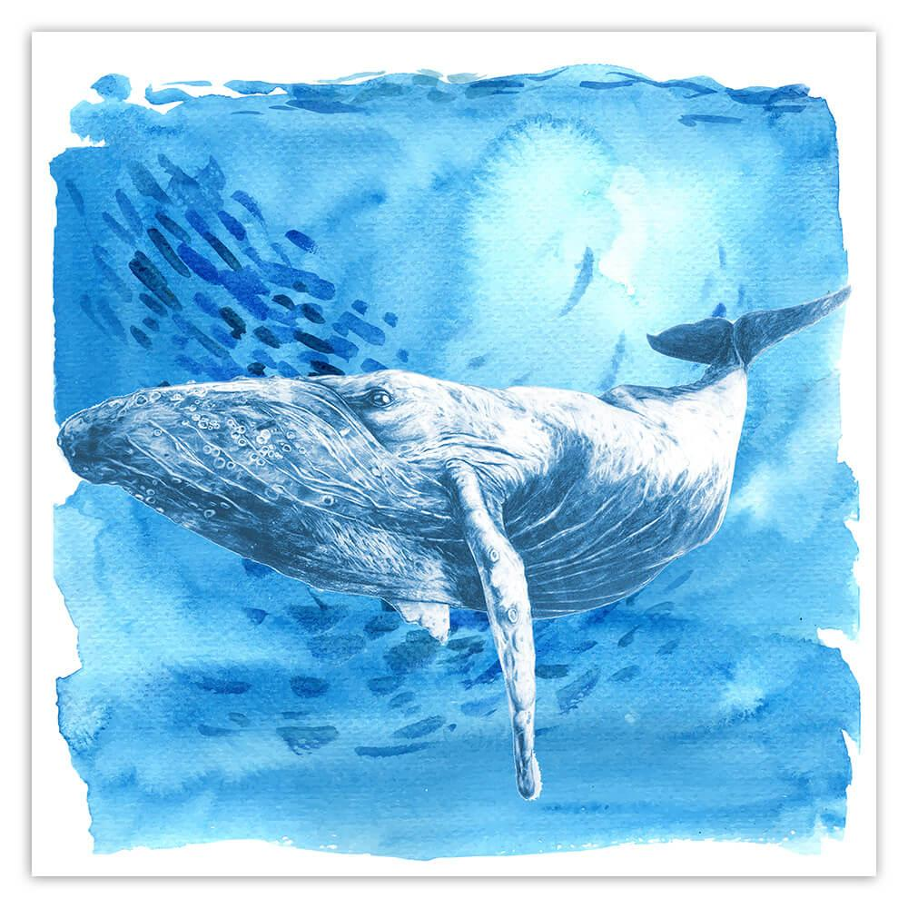Humpback Whale Watercolor Art Print : Gift Sticker Ocean Animal Water Nature Protection