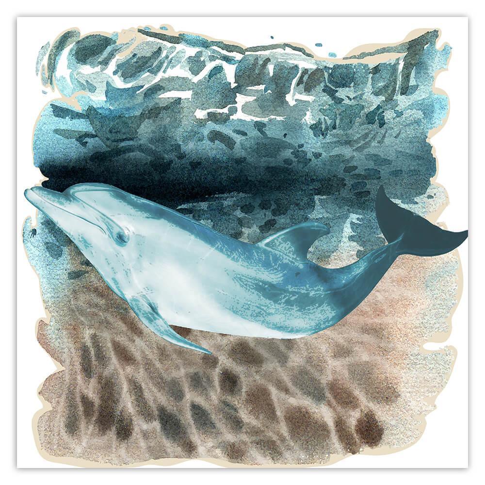 Dolphin Watercolor Art Print : Gift Sticker Ocean Water Animal Nature Lover Stones Light