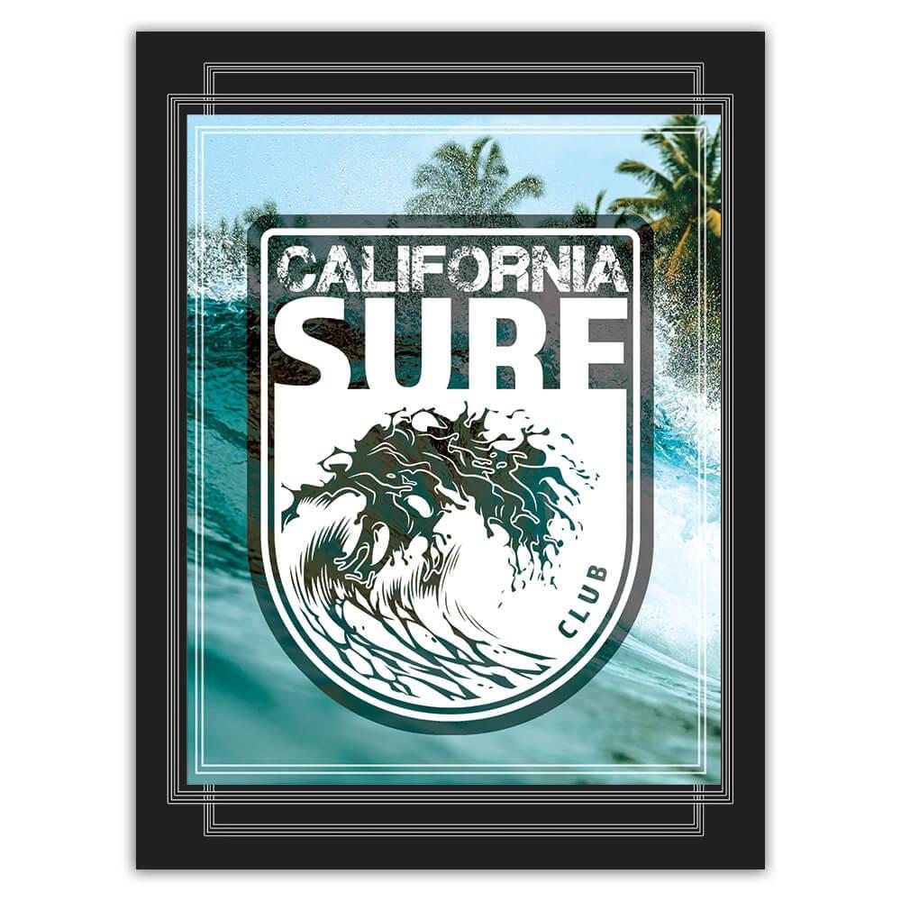 California Surf Club : Gift Sticker Surfer Surfing Action Water Sport Surfboard Holidays