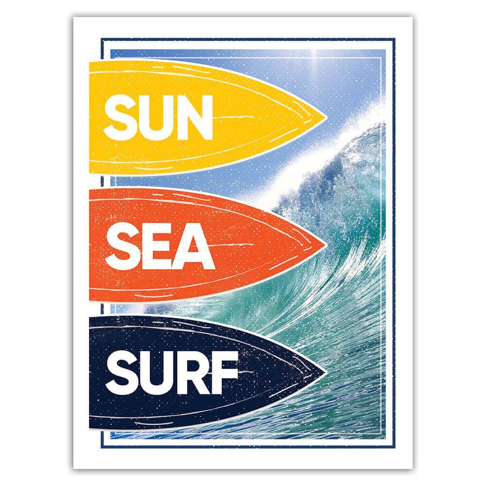Sun Sea Surf : Gift Sticker For Best Surfer Surfing Board Action Sport Ocean Holidays