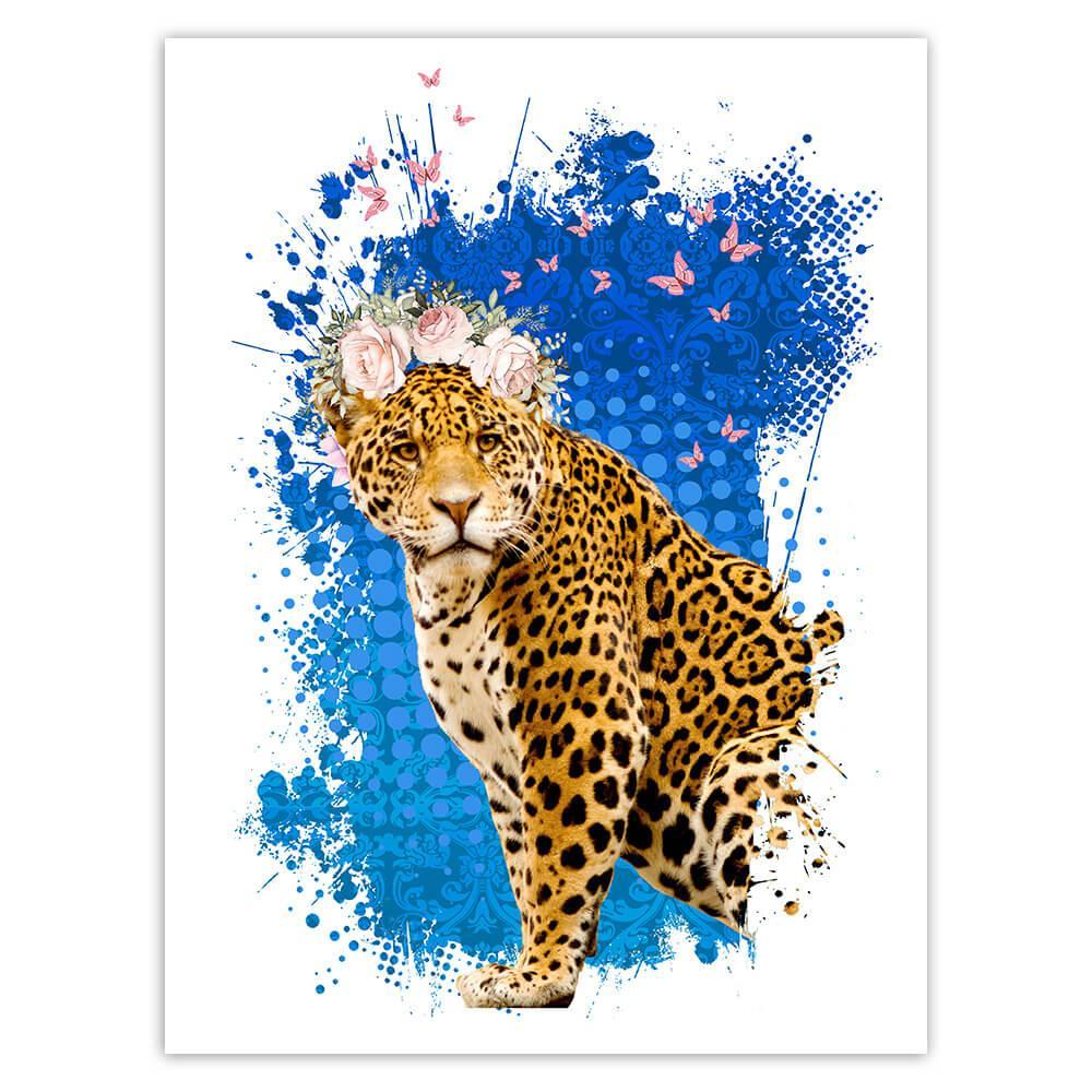 Leopard Photography : Gift Sticker Panthera Wild Cat Feline Flowers Butterflies Collage