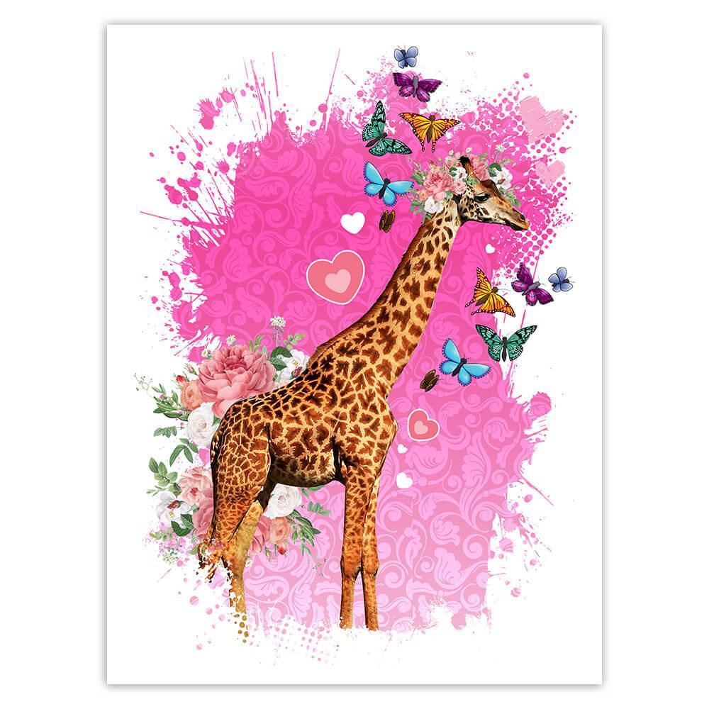 Giraffe Photography : Gift Sticker Safari Animal Wild Flowers Butterflies Collage Cute