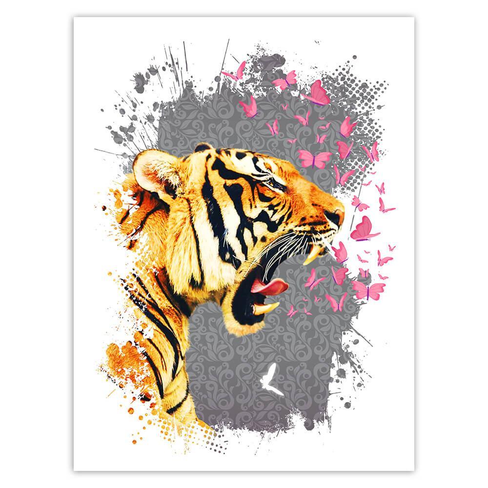 Tiger Head Photography : Gift Sticker Wild Feline Animal Safari Butterflies Collage Floral