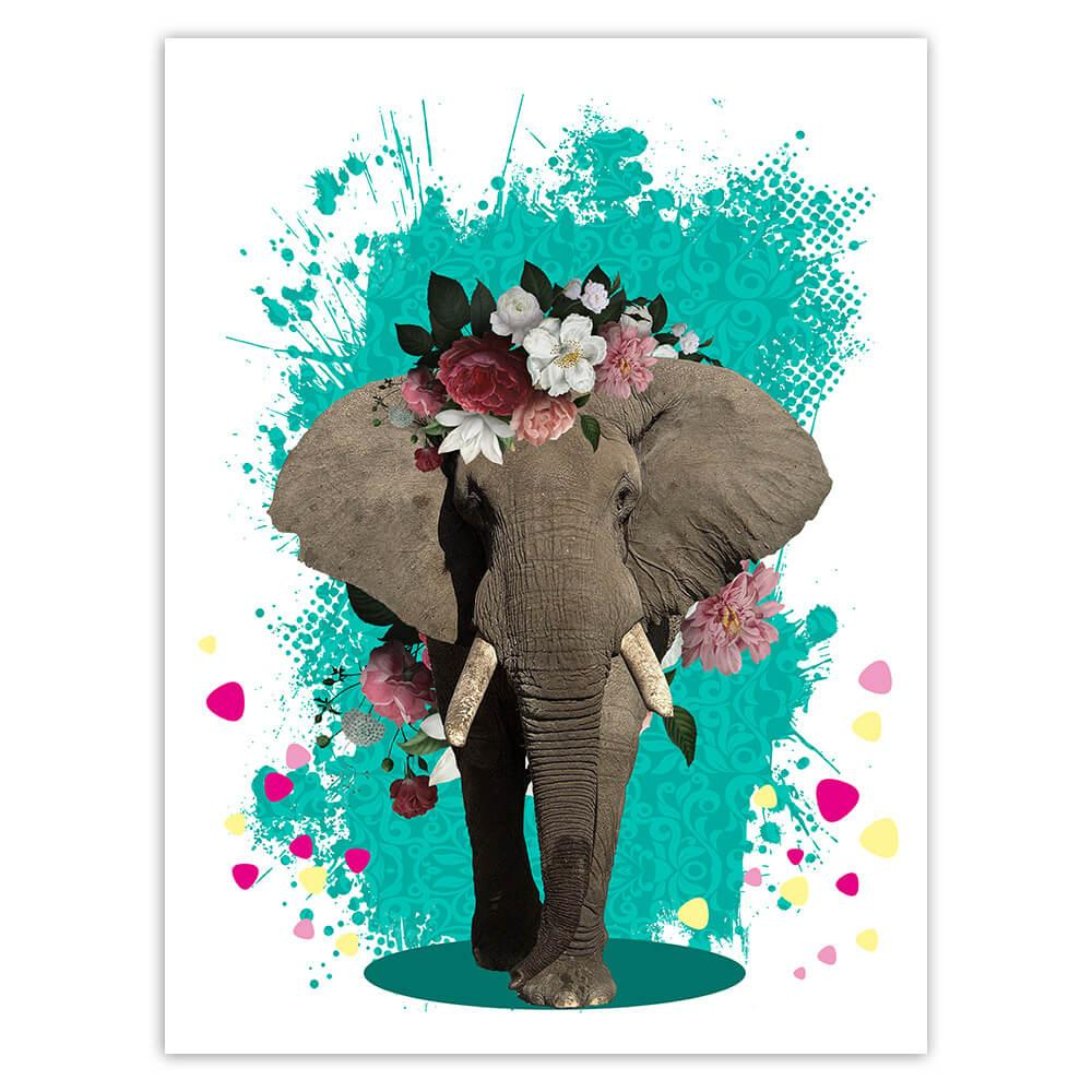 Elephant Photography : Gift Sticker Floral Wreath Cute Safari Animal Wild Nature Collage