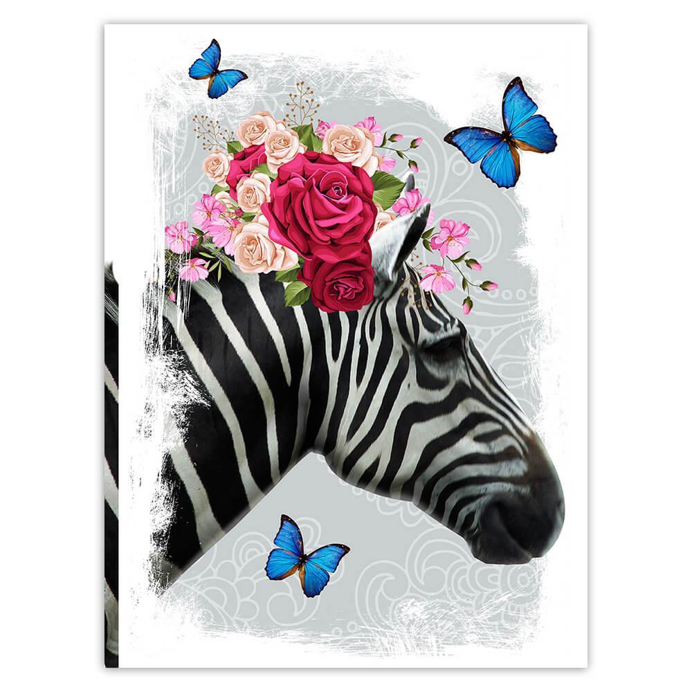 Zebra Photography : Gift Sticker Floral Wreath Cute Safari Animal Wild Nature Collage