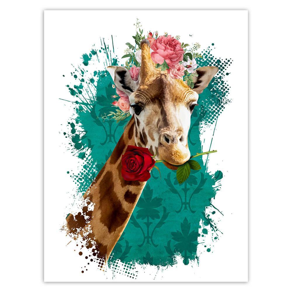 Giraffe Photography Portrait : Gift Sticker Floral Wreath Cute Safari Animal Wild Nature
