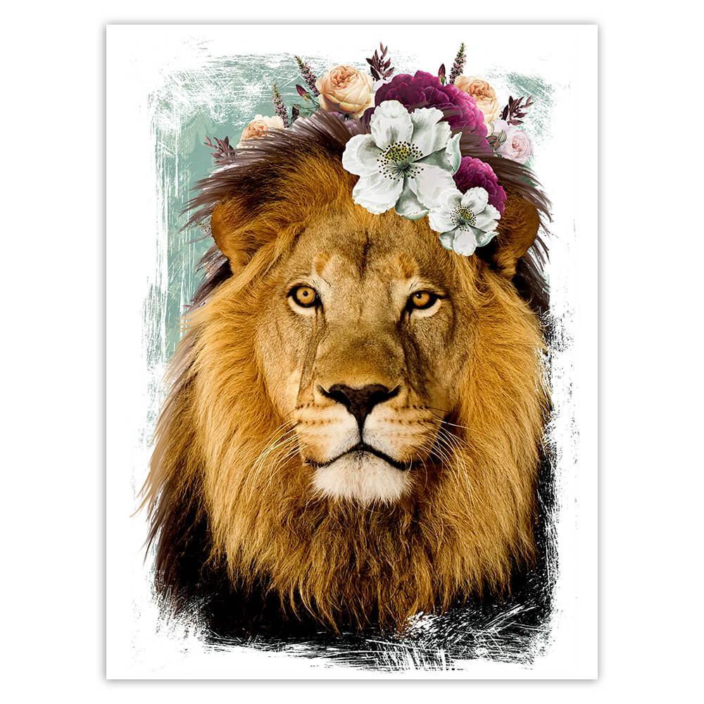 Lion Photography : Gift Sticker Flowers Cute Safari Animal Wild Feline Nature Collage