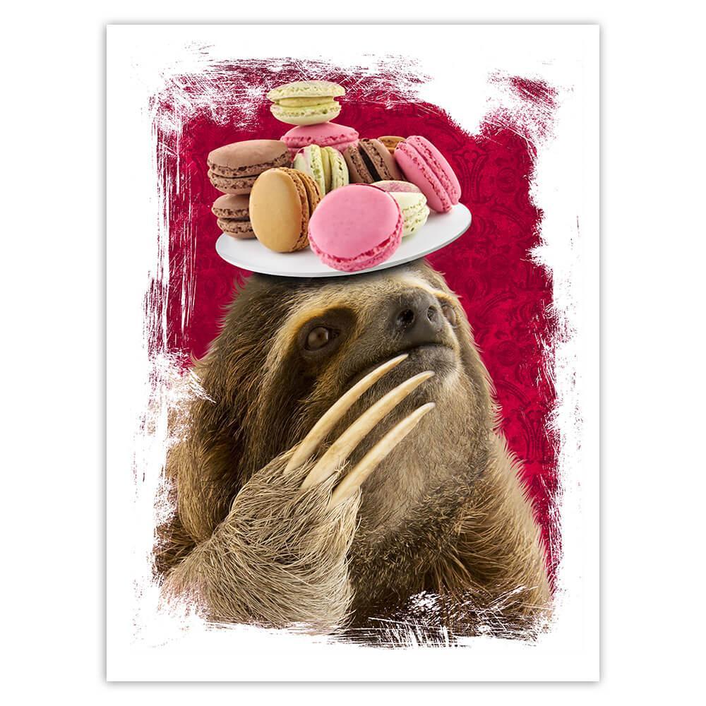 Funny Sloth Macarons : Gift Sticker Macaron Lover Eater Sweet Dessert Wild Animal Slow