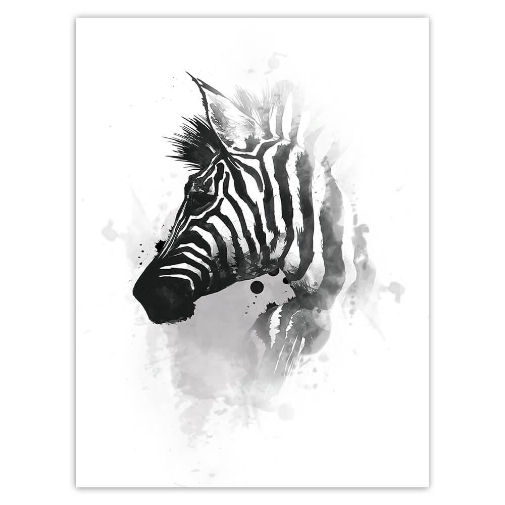 Zebra Face Watercolor : Gift Sticker Safari Animal Wild Nature Africa Protection Painting