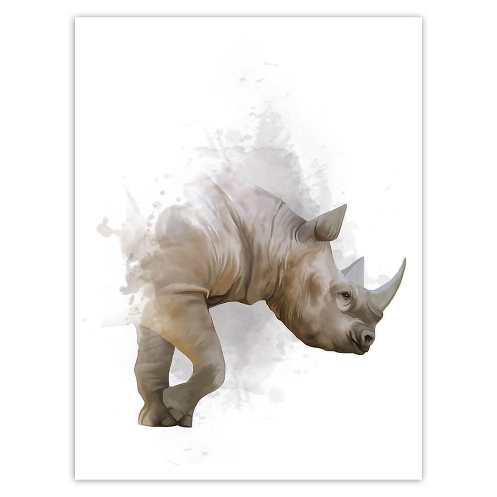 Rhino Watercolor Painting : Gift Sticker Safari Animal Wild Life Nature Africa Protection