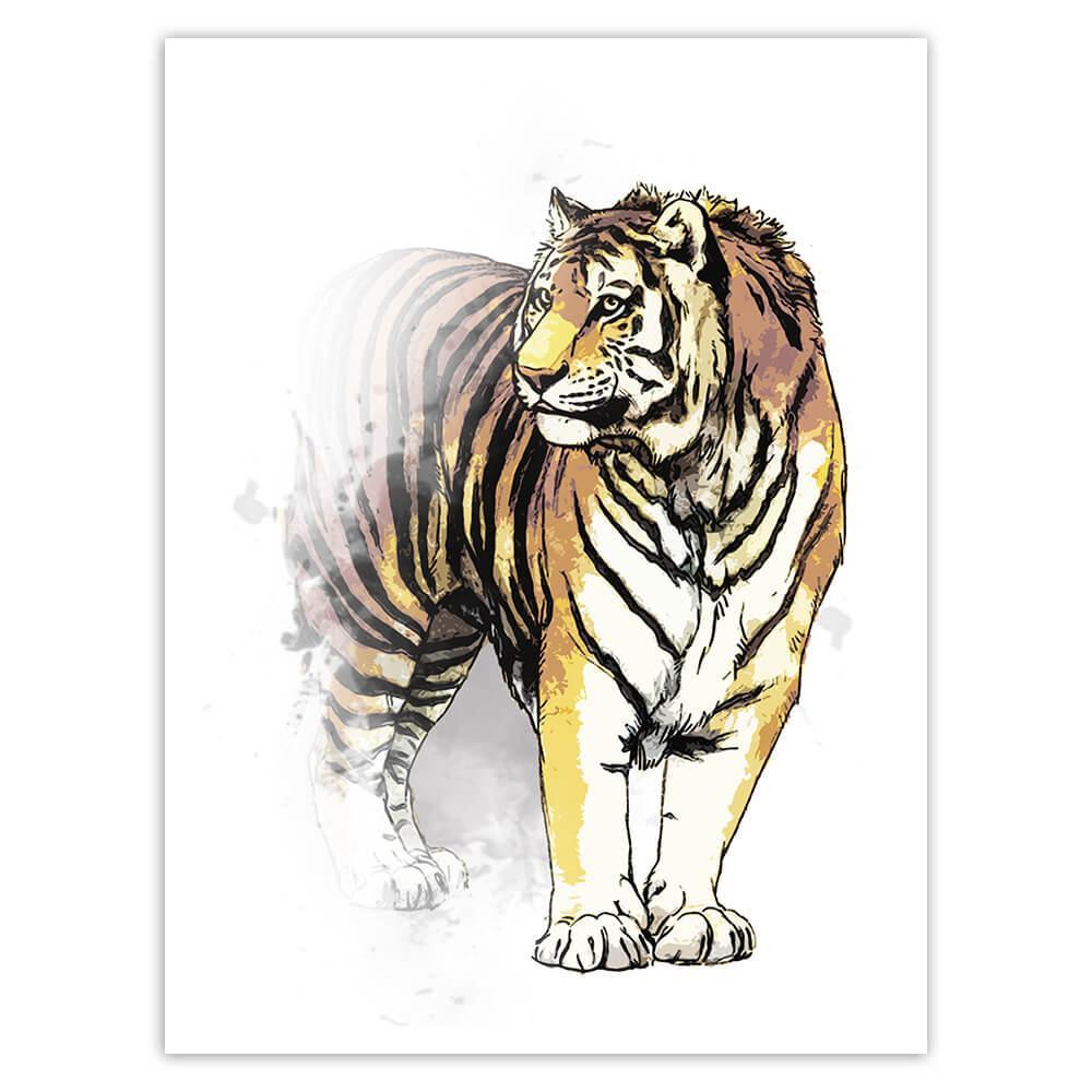 Tiger Watercolor Painting : Gift Sticker Safari Feline Animal Wild Nature Protection Big Cat
