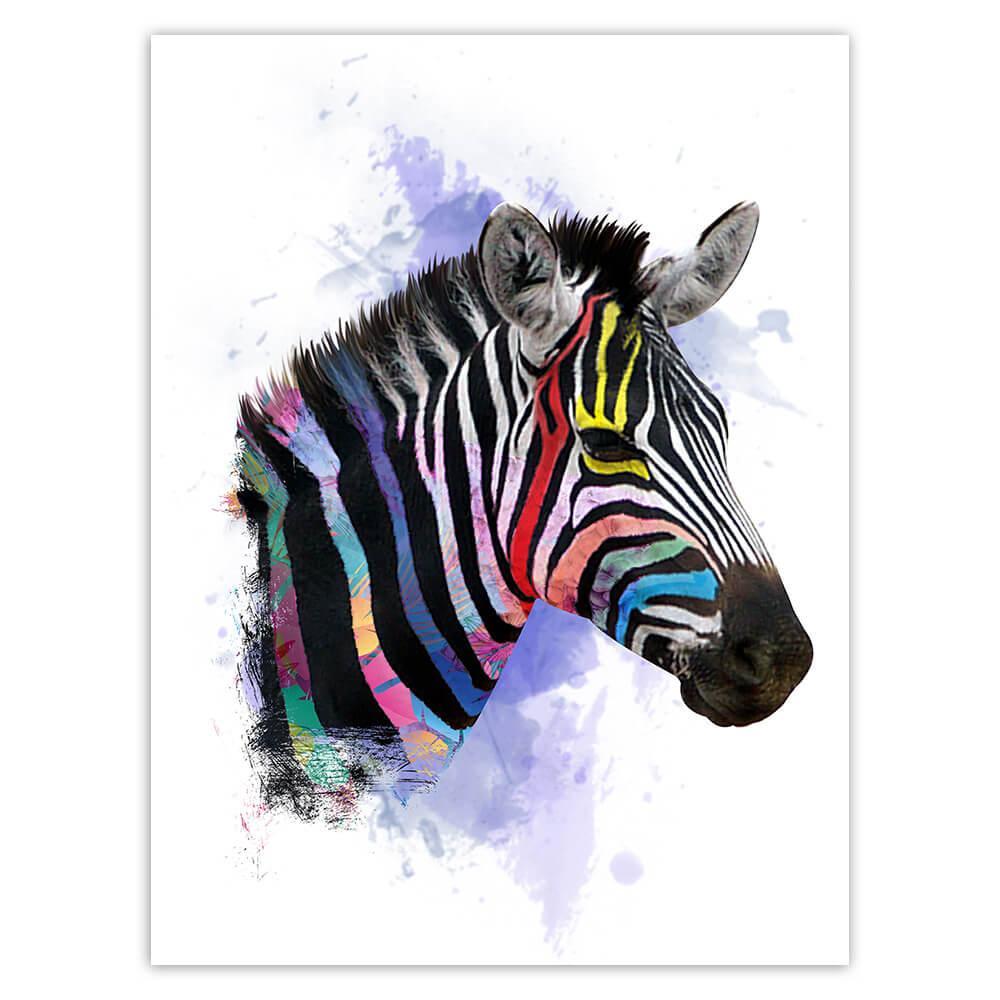 Zebra Face Colors Rainbow : Gift Sticker Safari Animal Wild Nature Watercolor Painting
