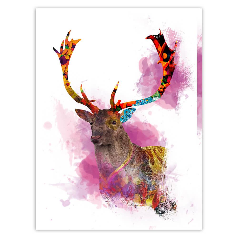 Deer Watercolor Painting : Gift Sticker Wild Animal Colorful Graphics Nature Protection