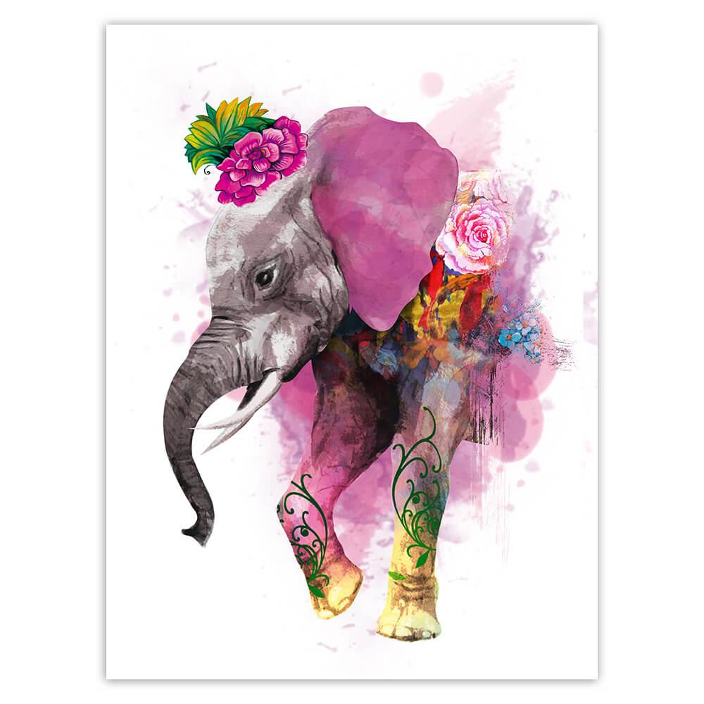 Elephant Painting Flowers : Gift Sticker Safari Animal Wild Nature Africa Watercolor Art