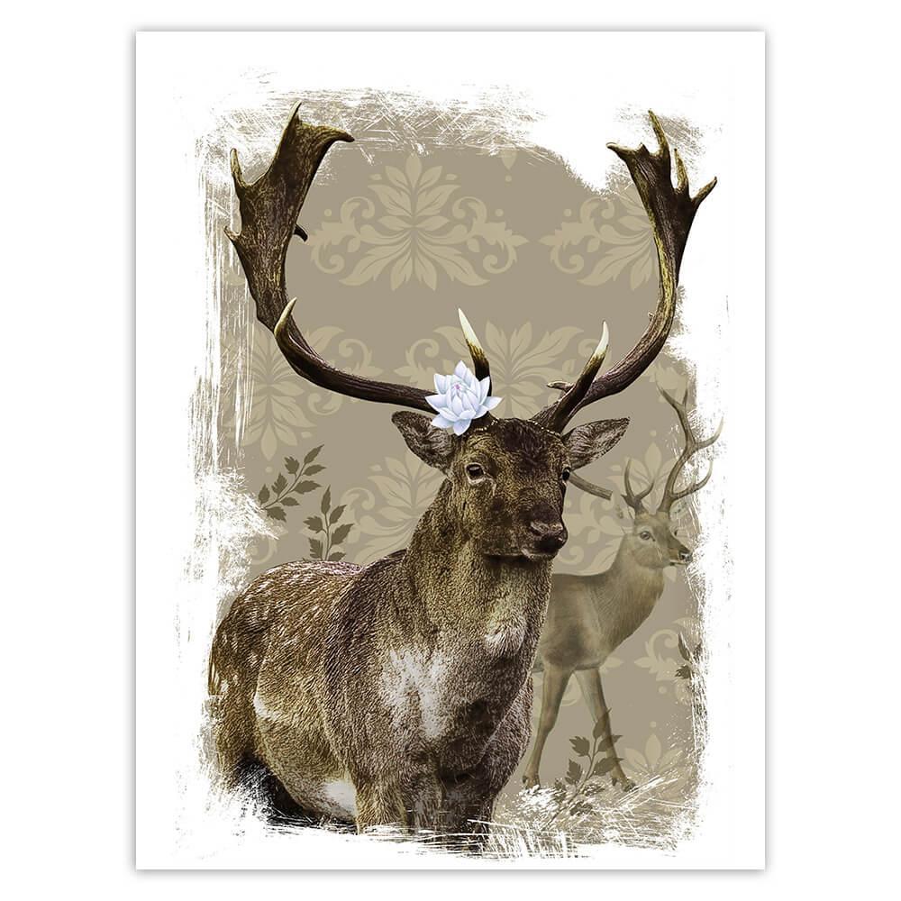 Deer Realistic Painting : Gift Sticker Lotus Flower Deers Wild Animals Forest Arabesque