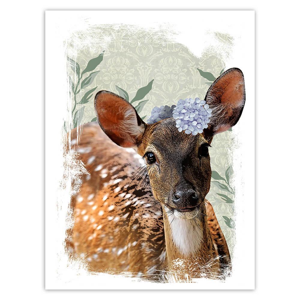 Deer Bambi Face Photography : Gift Sticker Hydrangea Wild Forest Animal Nature Cute