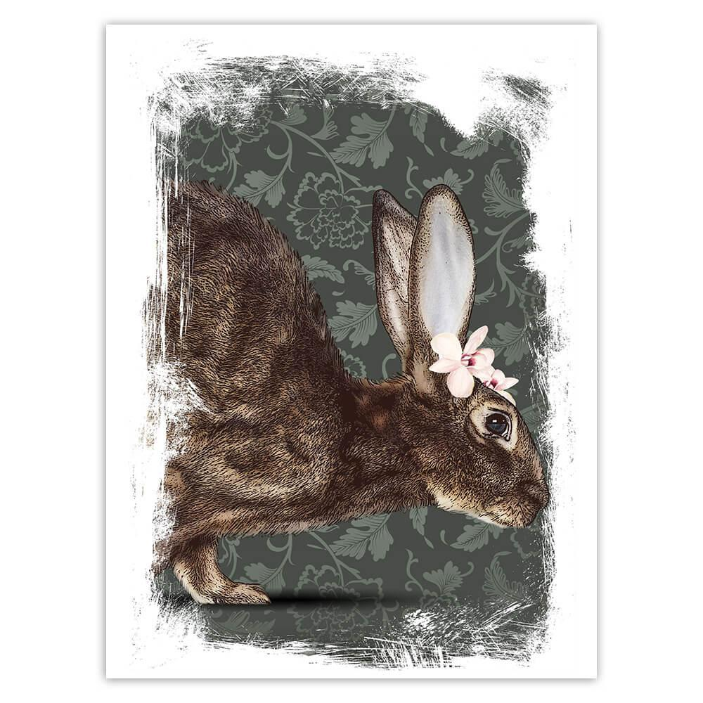 Realistic Hare Picture Orchid : Gift Sticker Wild Animal Floral Arabesques Rabbit Art