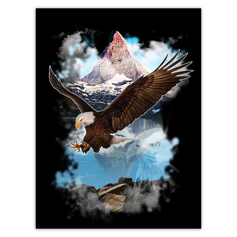 Bold Eagle Wings Open : Gift Sticker Wild Bird North America Nature Lake Animal Lover