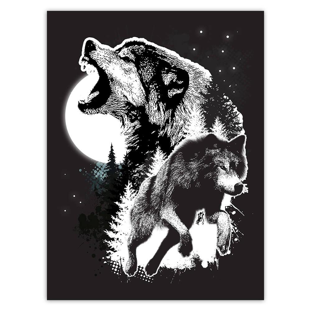 Wolves Wolf : Gift Sticker Grayscale Drawing Wild Animal Forest Nature Protection Lover