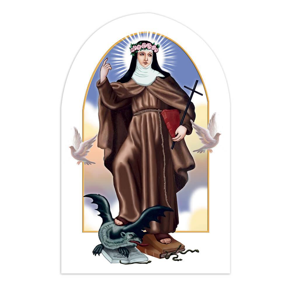Saint Rose Of Viterbo : Gift Sticker Catholic Church Dragon Dove Cross Christian Holy