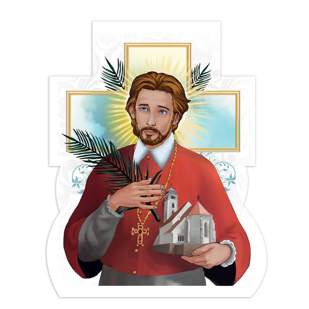 Saint Marko Krizin : Gift Sticker Catholic Croatian Priest Roman Church Christian Fern Leaf