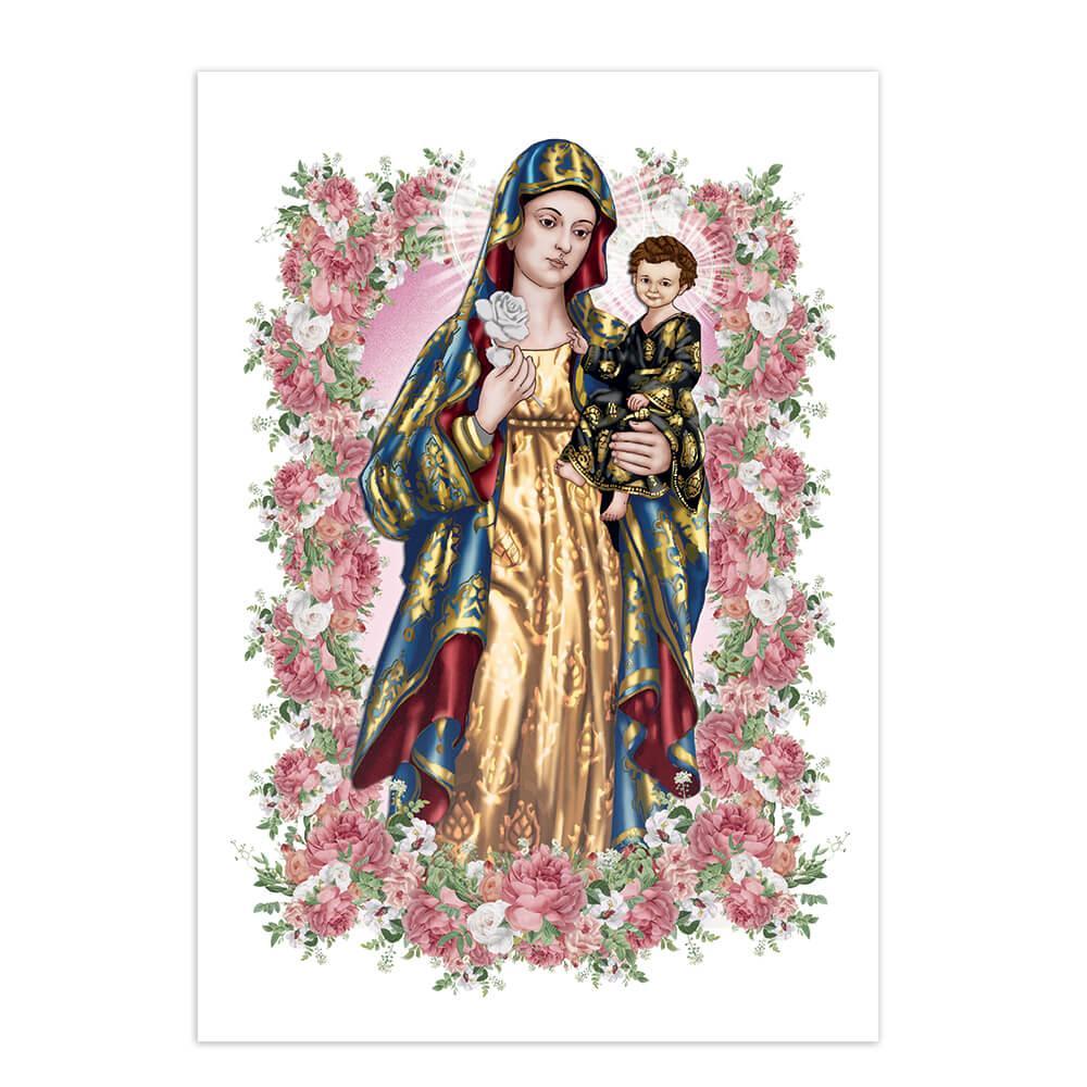 Our Lady Of Antigua : Gift Sticker Baby Jesus Virgin Catholic Saint Flower Frame Decor