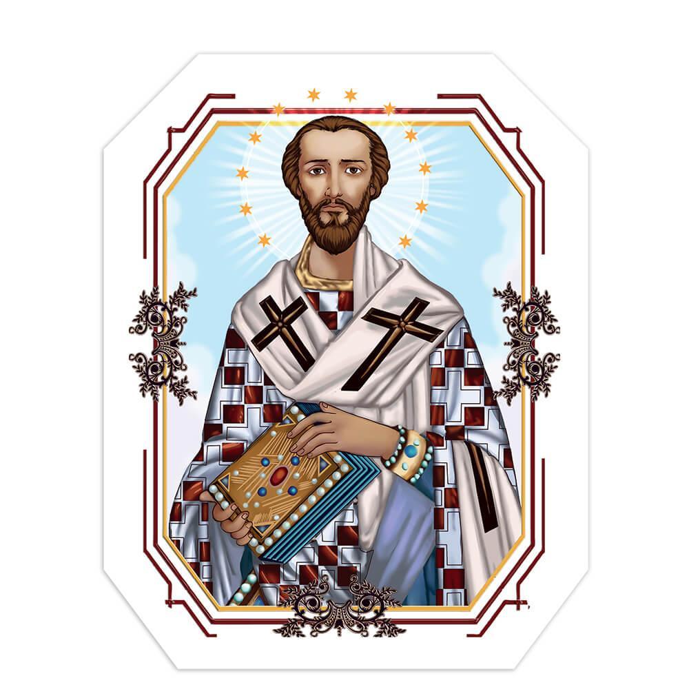 Saint John Chrysostom : Gift Sticker Holy Bible Catholic Church Religious Frame