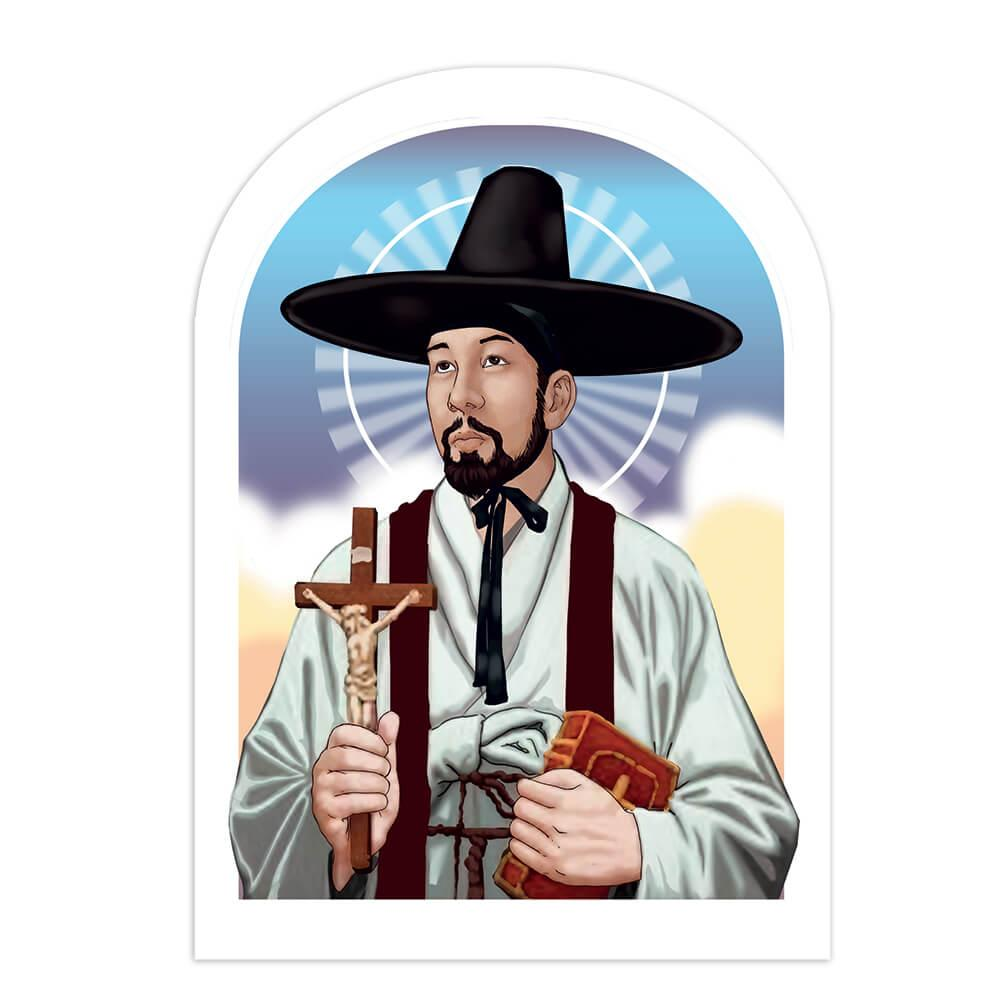 Saint Andrew Kim Taegon : Gift Sticker Korean Catholic Holy Religious Priest Hat Church