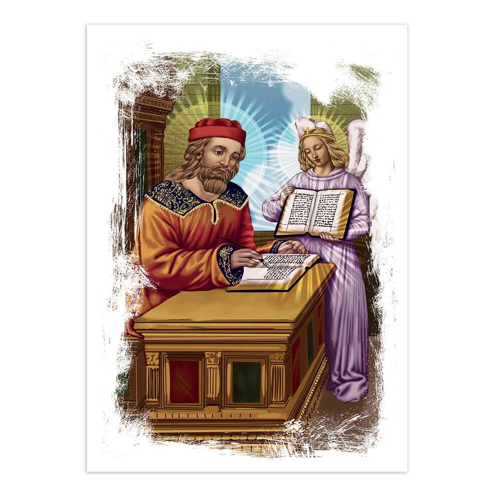 Saint Matthew The Evangelist : Gift Sticker Catholic Apostle Church Religious Angel