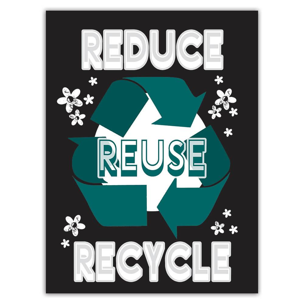Reduce Reuse Recycle : Gift Sticker Ecology Ecological Go Green Love Plants Organic
