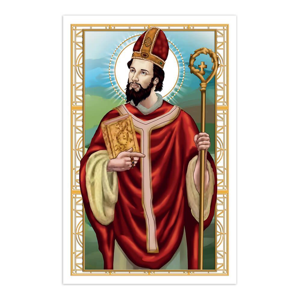 Saint Virgilius Of Salzburg : Gift Sticker Catholic Holy Christian Bible Religious Staff