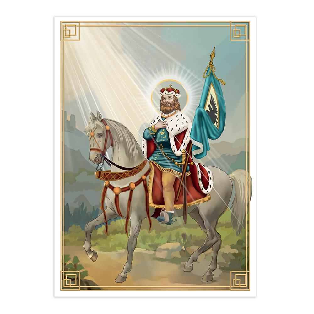 Saint Wenceslaus : Gift Sticker Catholic Church San Wenceslao Christian Horse Holy