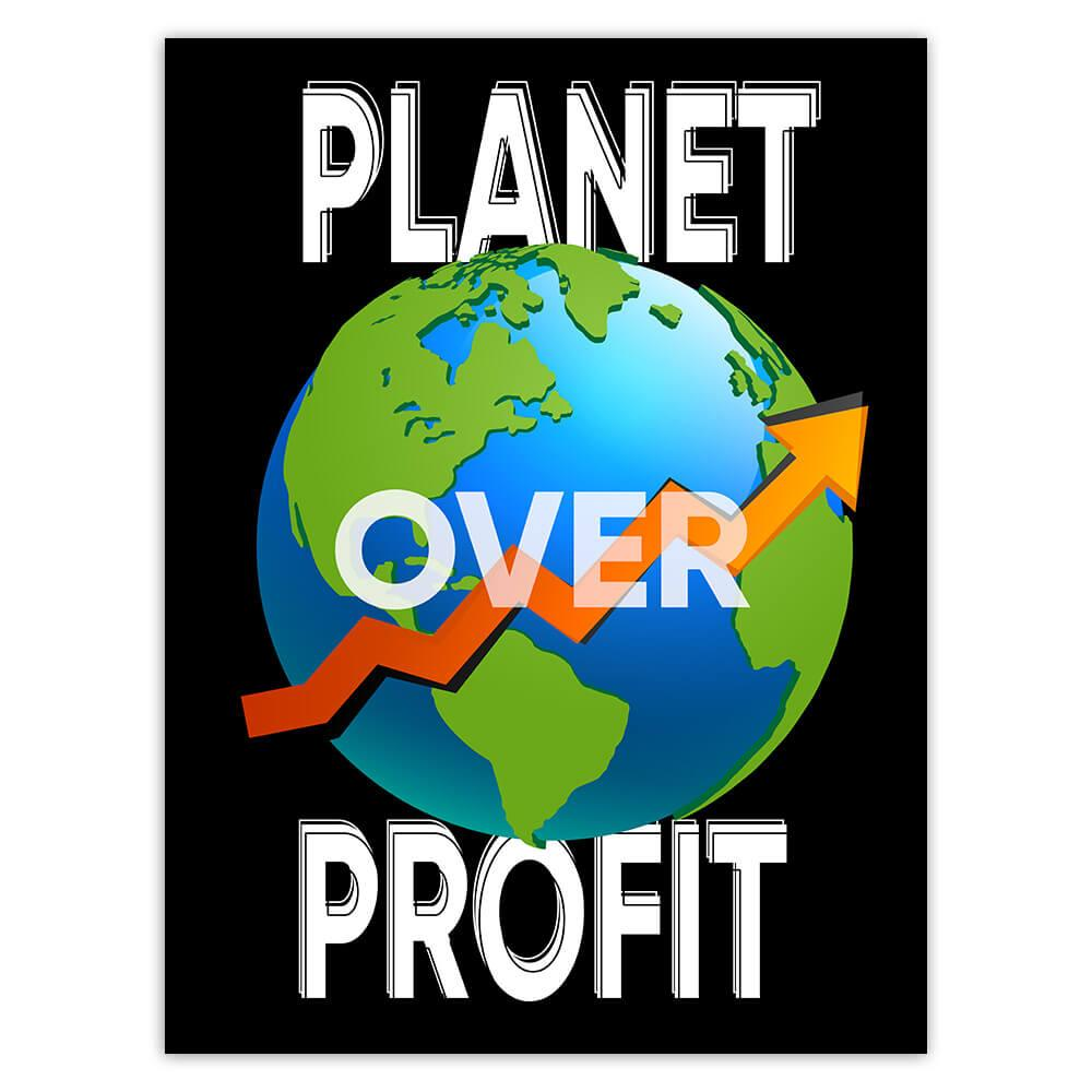 Planet Over Profit : Gift Sticker Save The Earth Climate Friendly Go Green Love Plants