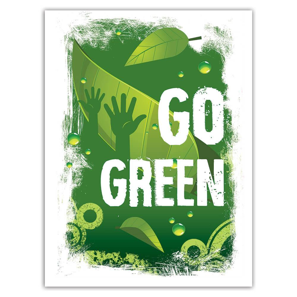 Go Green Climate Friendly : Gift Sticker Recycling Nature Protection Ecology Love Plants