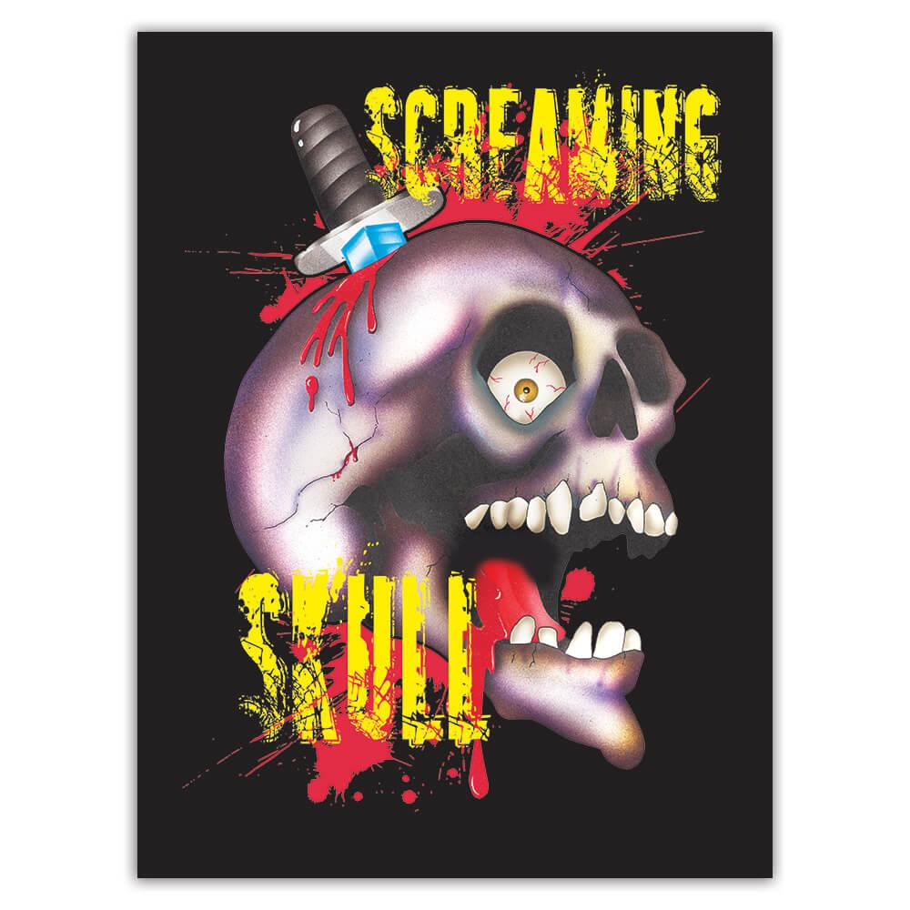 Screaming Skull : Gift Sticker For Halloween Party Holidays Horror Monster Zombie Teens