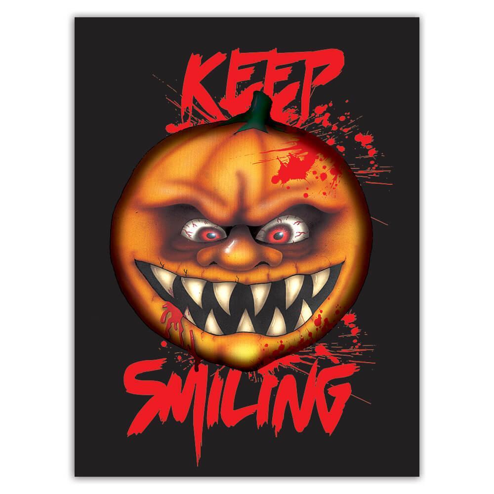 Horror Pumpkin Keep Smiling : Gift Sticker Halloween Holiday Decor Monster Scary Teens