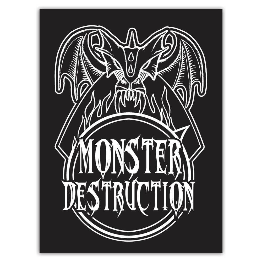Monster Destruction : Gift Sticker Vampire Dracula Halloween Scary Design Horror Movie