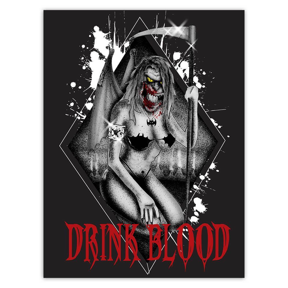 Drink Blood Vampire Death : Gift Sticker Dreadful Monster Halloween Holiday Horror Movie