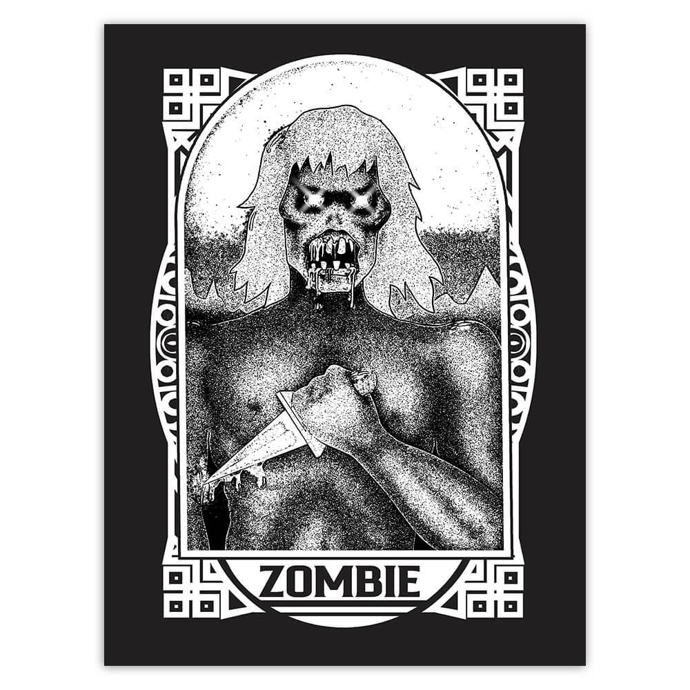Zombie Living Dead : Gift Sticker Monsters Horror Movie Stars Halloween Holiday Vintage