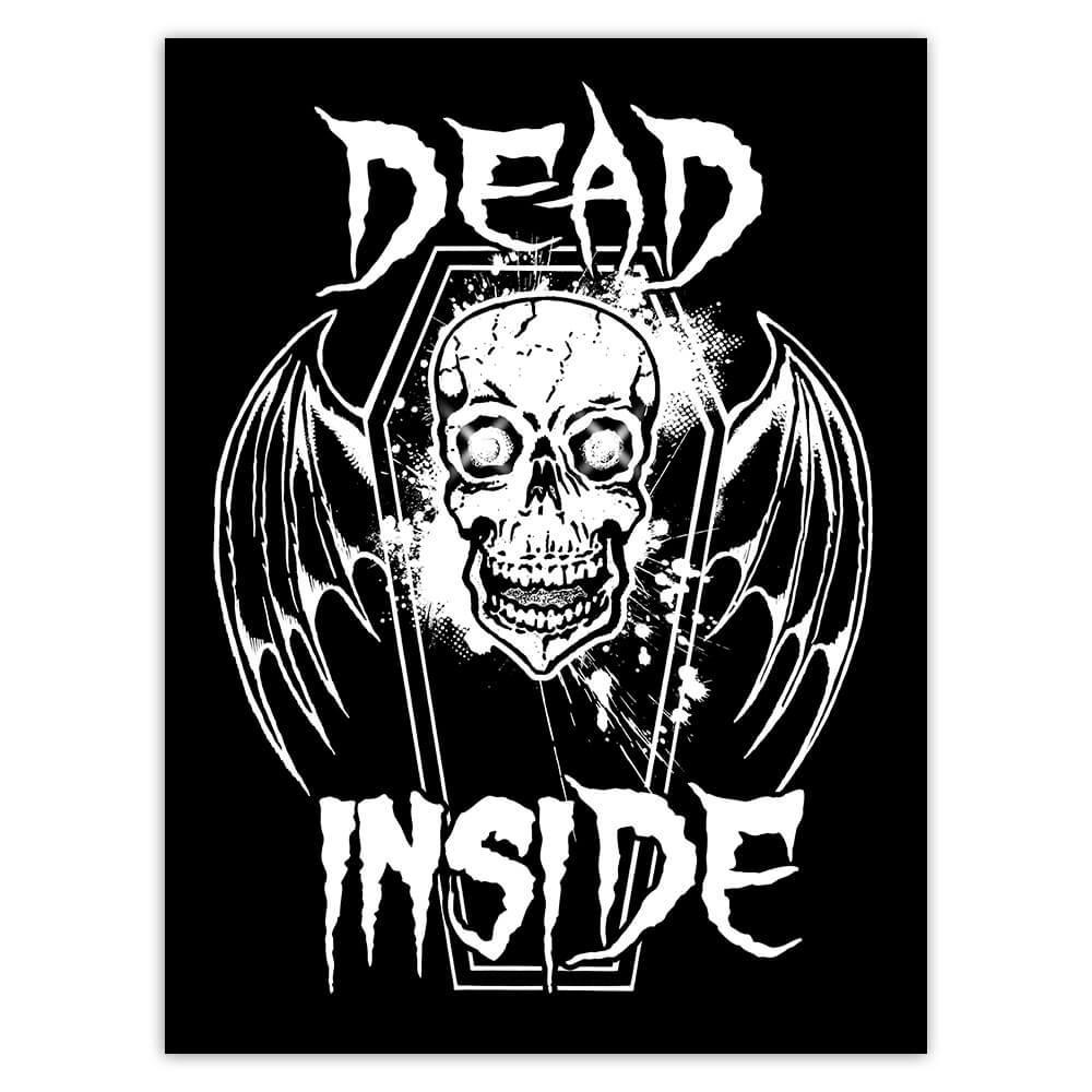 Dead Inside Skull Vampire Wings : Gift Sticker Halloween Party Decor Coffin Black And White