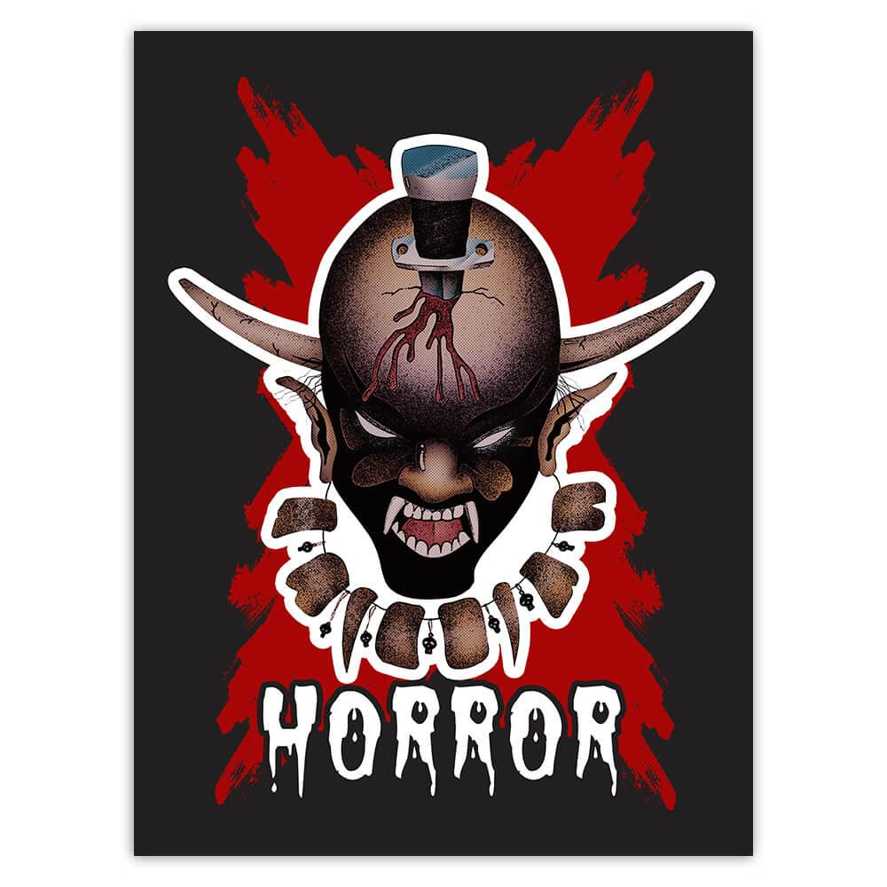 Horror Devil Evil Aborigine : Gift Sticker Bloody Monster Halloween Day Skull Zombie