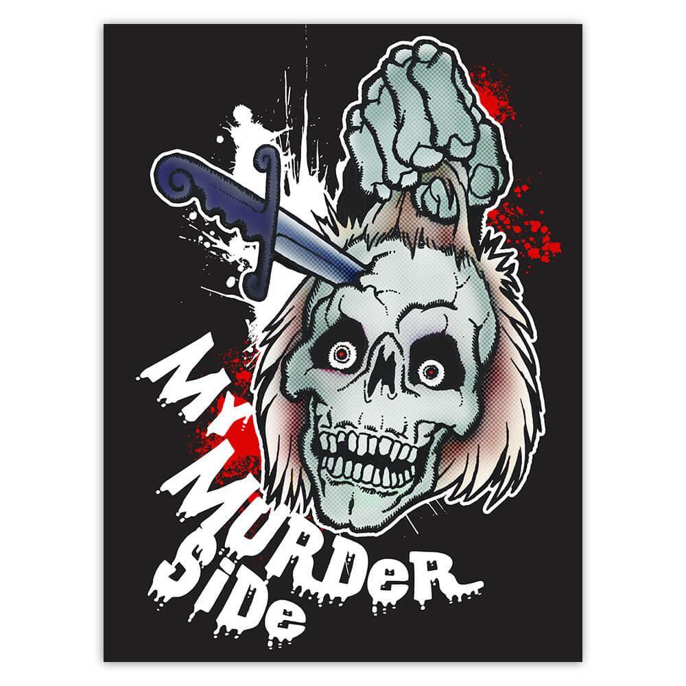 Dead Skull Head Murder Side : Gift Sticker Scary Horror Halloween Party Monster Zombie