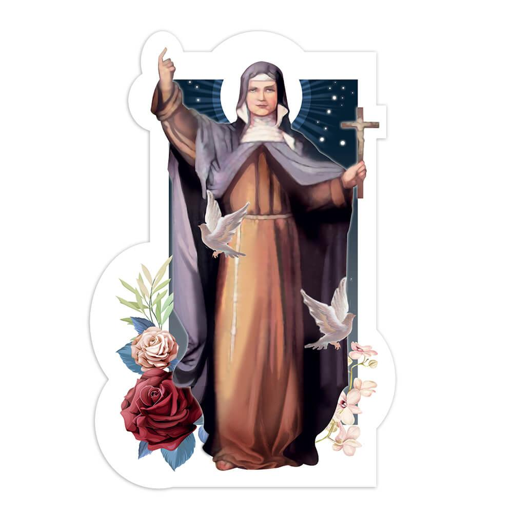 Saint Regina : Gift Sticker Catholic Church Religious Christian Cross Flowers Dove