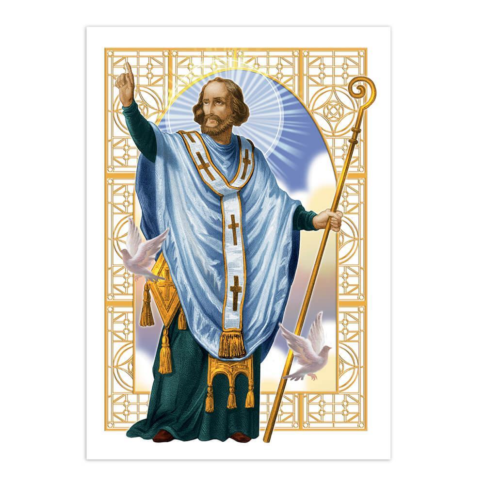 Saint Januarius : Gift Sticker San Gennaro Catholic Church Christian Religion Staff