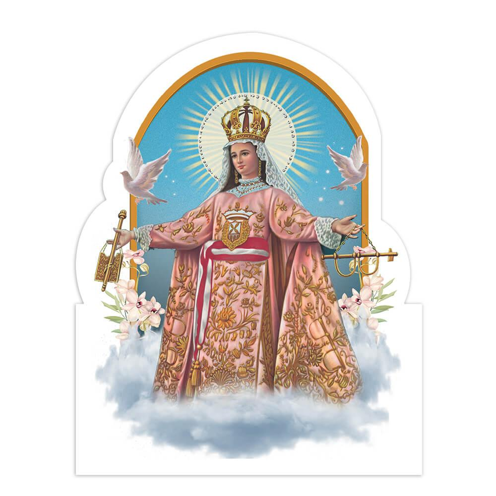 Our Lady Of Mercy : Gift Sticker Mercedes Catholic Church Saint Christian Doves Flower