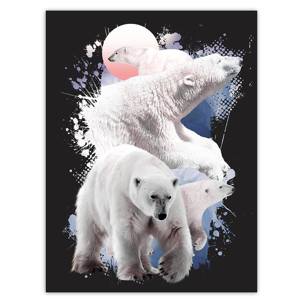Polar Bears : Gift Sticker Wildlife Wild Animal Winter Bear Photography Cute Wall Poster