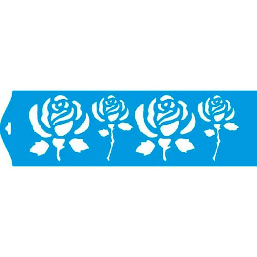 Roses 11.02 x 1.57 in : Diy Reusable Laser Cut Stencils 28x4cm Durable Airbrush